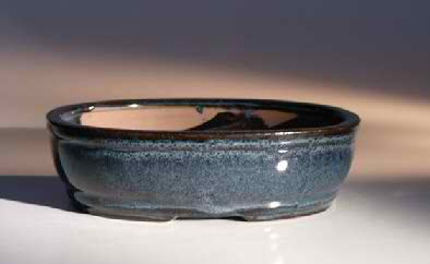"Ceramic Bonsai Pot - Land/Water with Divider 7.75"" x 6.0"" x 2.5"""