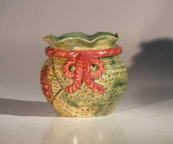 "Ceramic Holiday Pot - Glazed Green with Red Bow - 3.5""x3.5"""