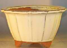 "Ceramic Bonsai Pot - Round Fluted Shape - 6.0"" x 3.5"""