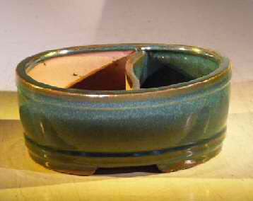 "Ceramic Bonsai Pot - Land/Water 12.0"" x 9.5"" x 4.0"""