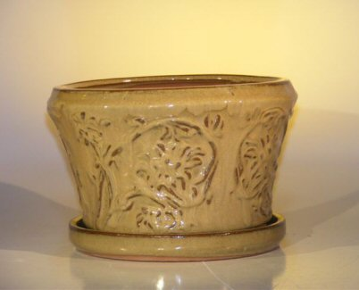 "Ceramic Bonsai Pot With Matching Tray 11.25""x7.5"" Tall"