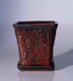 "Ceramic Bonsai Pot with Attached Tray - Cascade - 5.5"" x 5.5"""