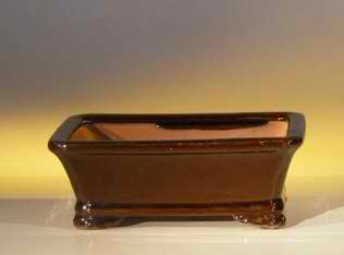 "Ceramic Bonsai Pot - Rectangle - 6.125"" x 4.5"" x 2.125"""