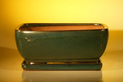 Ceramic Bonsai Pot With Attached Humidity/Drip Tray - Rectangle