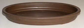 "Shallow Pot or Drip Tray - Oval Brown 17.0""x12.0""x2.0"""