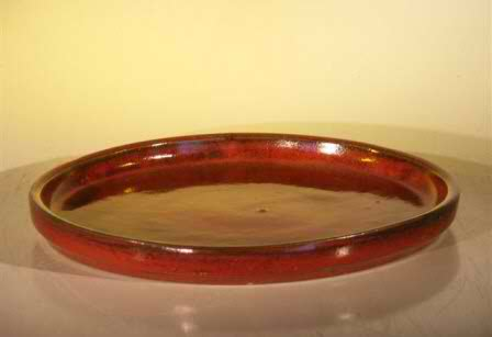 "Ceramic Humidity/Drip Bonsai Tray - Parisian Red Round 8.0""x1.0"""