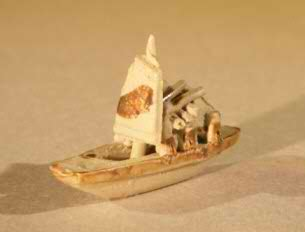 Miniature Chinese Boat Figurine - Size Small