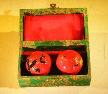 Cloisonne Exercise Balls One Dragon and One Chicken Design