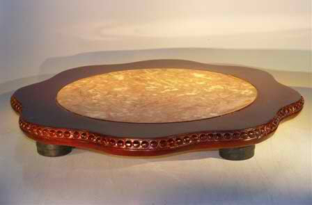 "Wooden Display Table with Marble Top 19.0"" Round x 2.25"" tall"