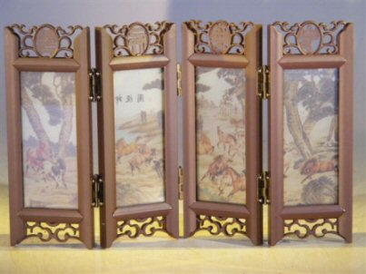 Mini Shoji Screen With Glass Framed Pictures of Horses