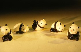 "Ceramic Panda Figurines- Set of 5 Various Poses 1"" x 1.5"""