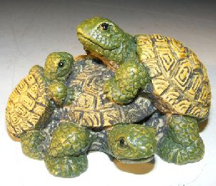 Miniature Turtle Figurine Three Turtles - Two Climbing on Back - Click Image to Close