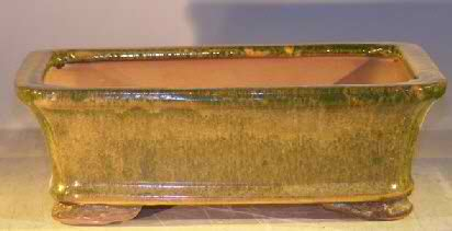 "Ceramic Bonsai Pot - Woodlawn Green Color - 8"" x 6"" x 2.5"" Tall"