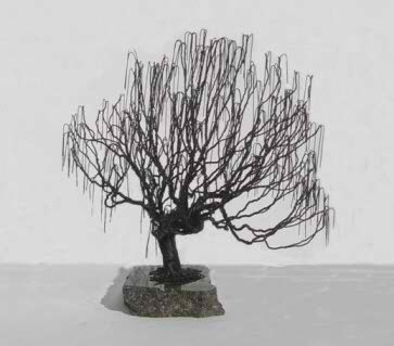 Wire Bonsai Tree Sculpture - Weeping Willow Style